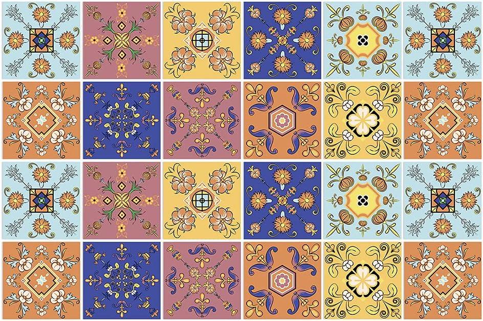 BROWSHAPER 24pcs Mexican Style Award Backsplash Peel Tile Stickers Sti Cheap sale