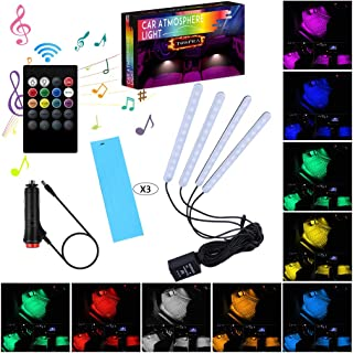 Car LED Strip Light Interior,TOSPRA 4PCS 48 LED Multicolor Music Car Atmosphere Light,Sticky Foam Adhesive,Sensitively Wireless Remote Control with Sound Active Function