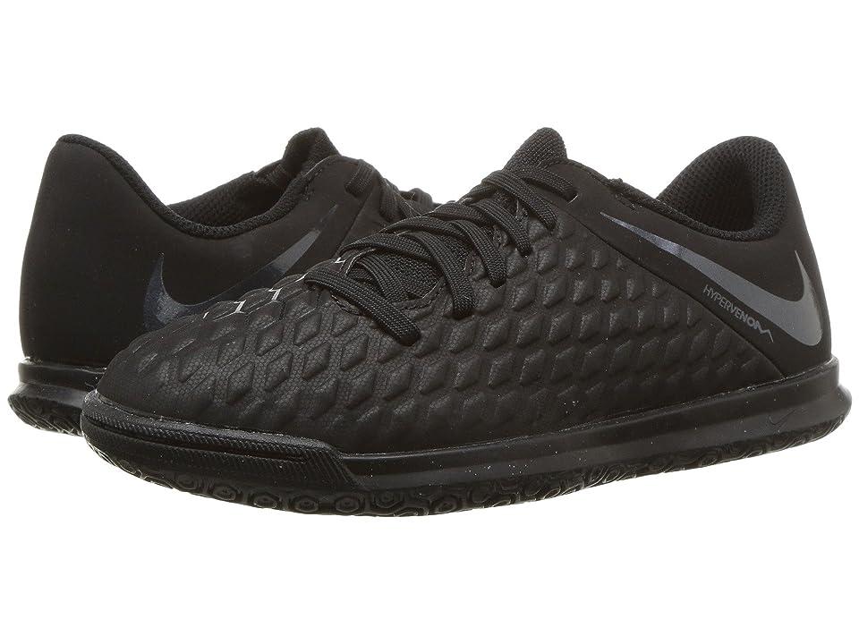 Nike Kids Hypervenom PhantomX 3 Club Indoor Competition Soccer (Toddler/Little Kid/Big Kid) (Black/Black/Light Crimson) Kids Shoes