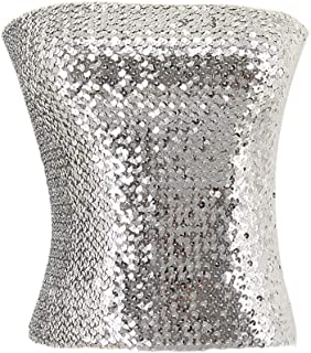 Women's Sparkly Bling Sequin Stripe Tube Top Sexy Stretchy Crop Top Party Costume Clubwear Camisoles