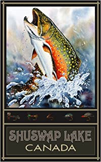 Shuswap Lake British Columbia Canada Brook Trout Travel Art Print Poster by Dave Bartholet (12
