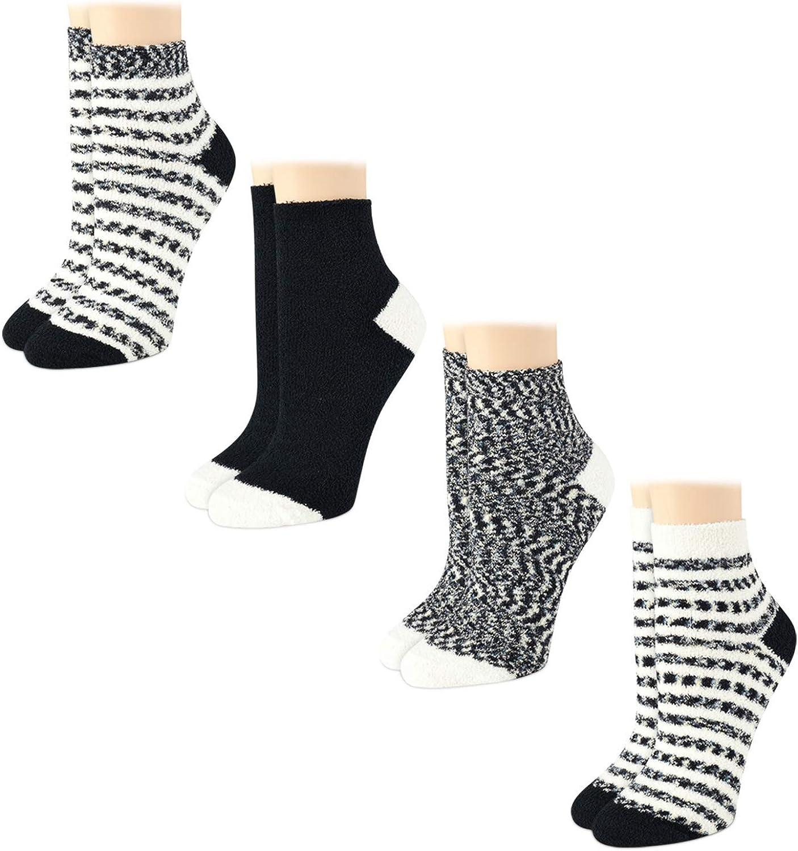 Warner's Women's Socks - Fuzzy, Cozy, Mid Crew Slipper Socks (4 Pack)