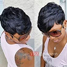 VRZ Short Curly Human Hair Wigs pixie Cut Summer Short Hair Wigs for Women Black Color 1B(Pixie Curly)