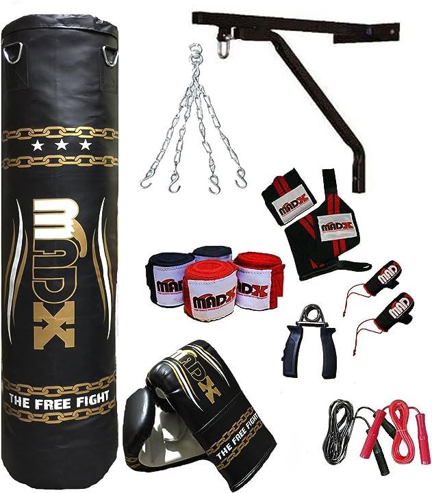 set per la boxe composto da 13 pezzi con sacco da boxe pieno, guanti, catena, staffa 152 cm madx p0-x0m2-uyzj
