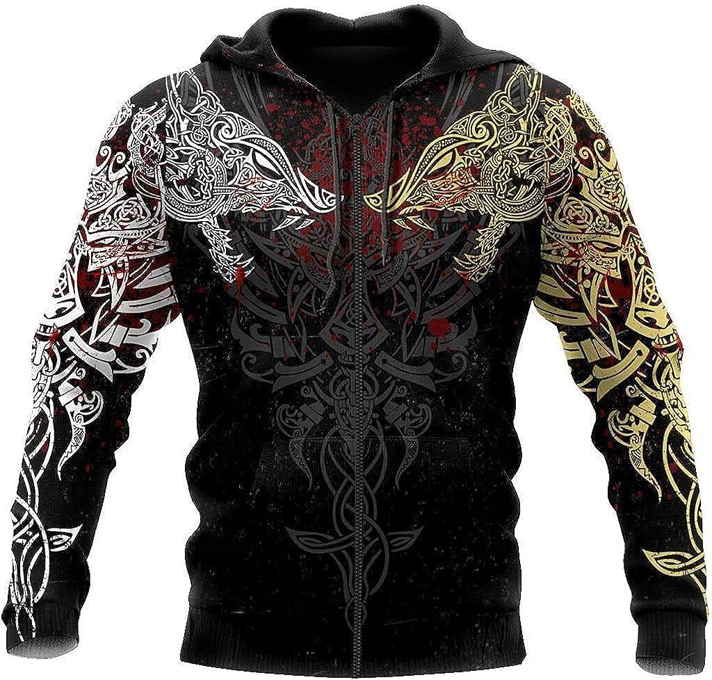 Viking 3D Tattoo Wolf Hooded, Norse Mythology Odin Fenrir Streetwear Casual Long Sleeve Pullover Sweatshirt