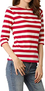 Allegra K Women's Elbow Sleeves Top Round Neck Contrast Color Tee Casual Striped Shirt