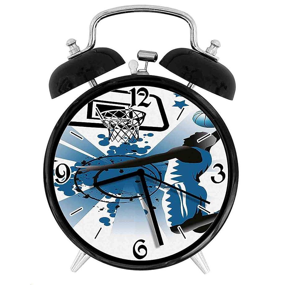 おとなしい表面的な行政210STAR-バスケットボール選手ジャンプ成功星のシルエットレトロで個性あふれる、家やオフィス用の大きなウェイクアップの目覚まし時計、直径9.5センチ