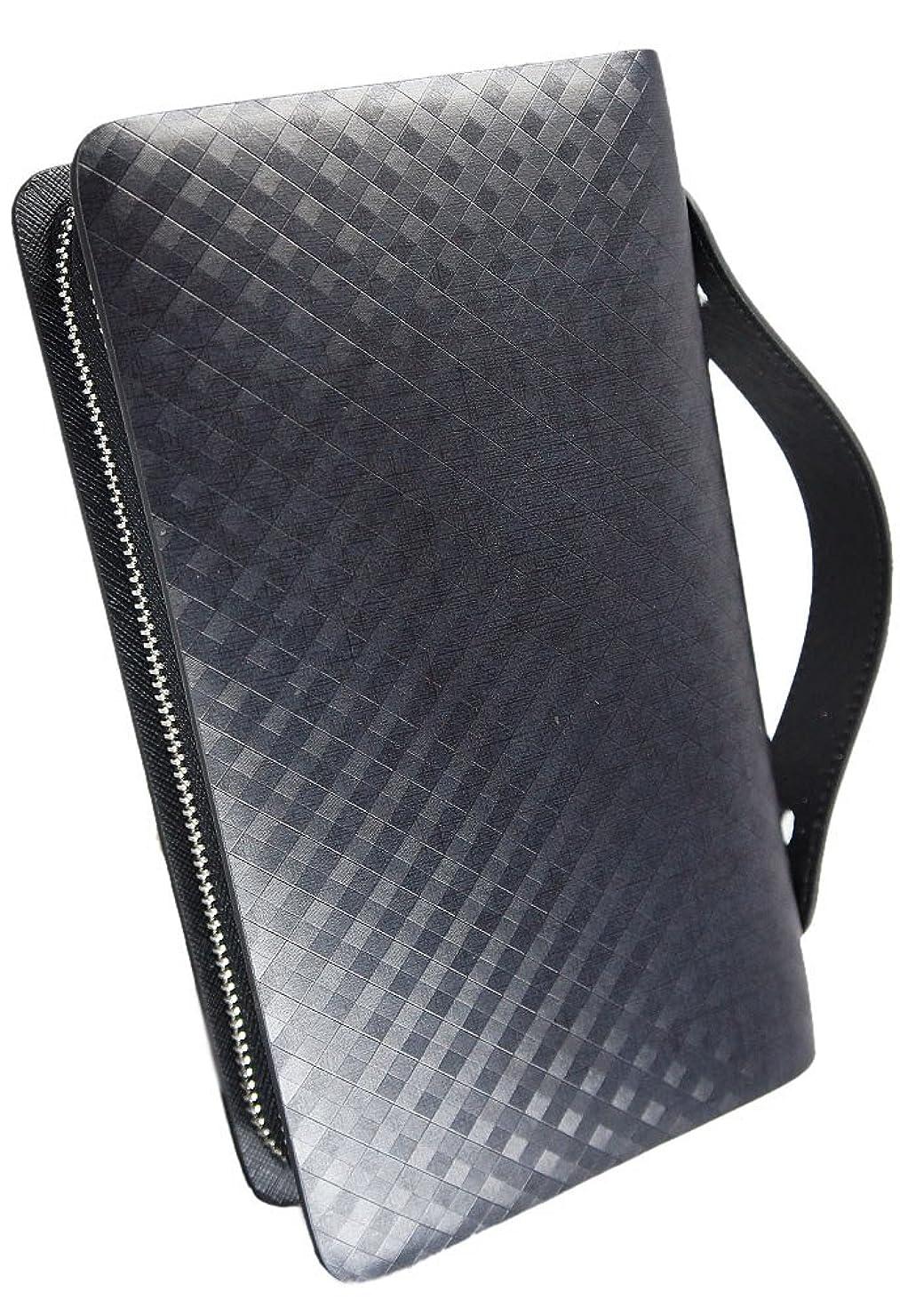 くコンベンションハード[BlissLeather] 【一流のスペイン製レザー使用】高級 本革 アメジスト セカンドバッグ 財布 ダブルファスナー 多機能 ボックス付き 10083