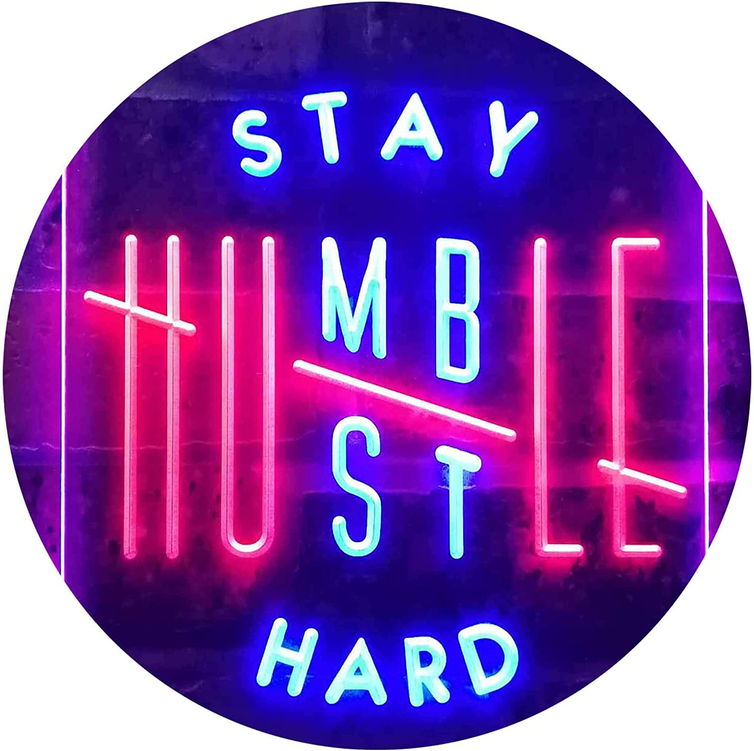 ADVPRO Stay Regular store Humble Hustle Manufacturer direct delivery Hard Room Color LED Neon Display Dual