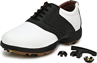 ASE Mens Black Leather Spiked Golf Shoes