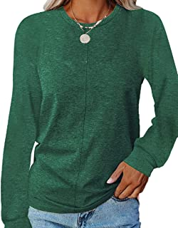 Sponsored Ad - Womens Casual Long Sleeve Comfy Tops Crewneck Solid Color Loose Fit Blouses T Shirts