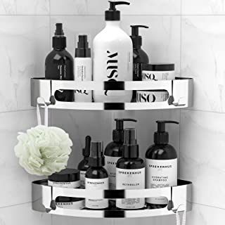 ANVAVA Bathroom Corner Shelves No Drilling, 2 Pcs Stainless Steel Shower Caddy Storage Basket with 2 Hooks, Dual-use Insta...