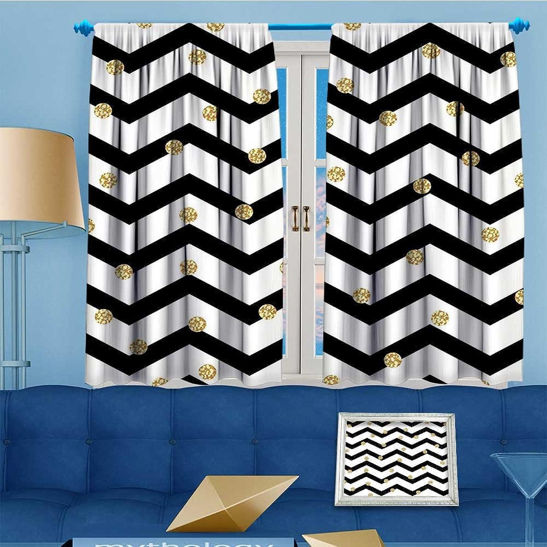 Mikihome 2 Panel Curtains Symmetric G Polka Dots Rounds Design Black White Linen Window Curtains Grommet Top 72  W x 84  L