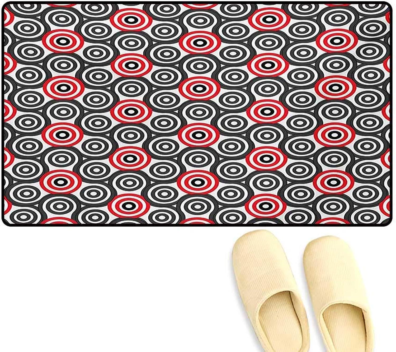 Door-mat,Interlace Spiral Labyrinth Blind Oval Linked Mosaic Artistic Image Print,Bathroom Mat Tub Non Slip,Red Black,20 x32