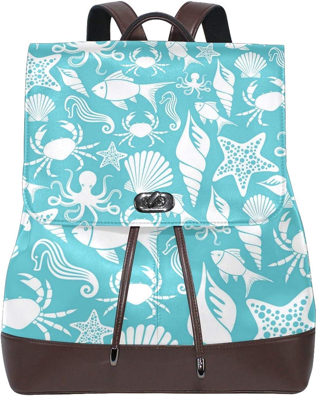 Fashion Shoulder Bag Rucksack PU Leather Women Girls Ladies Backpack Travel Bag bluee Coast Sea Horse