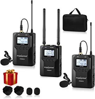 100-channel UHF Wireless Lavalier Lapel Microphone System for Canon Nikon Sony Panasonic DSLR Camera Camcorder & Smartphone-Used in Video Recording YouTube Vlog Interview Livestream(2TX+1RX)-ZHUOSHENG