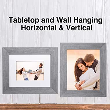 LaVie Home 8x10 Picture Frames (3 Packs, Gray) with Tempered Glass, Wall or Tabletop Display Pictures 5x7 with Mat or 8x10 Wi