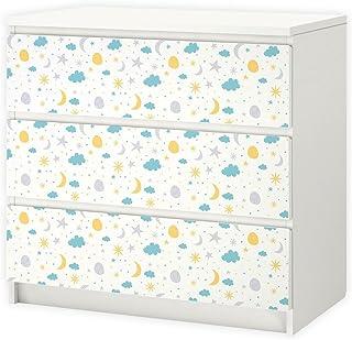 Nikima 004 - Lámina adhesiva para muebles IKEA MALM - Estrellas Luna y Nubes - 3 cajones Adhesivos (muebles no incluidos)