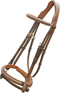ExionPro Fancy Designer Stitched Square Raised Snaffle Noseband & Brow Band Soft Lined Cutback Mono Crown Piece Horse Bridle with Detachable Flash & Brass Buckles Rubber Reins | English Bridle