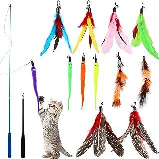 WD&CD 猫おもちゃ 猫じゃらし 14点セット 天然 羽のおもちゃ 交換用羽12個 棒鈴付き 竿2個 付き ねこじゃらし ぶらぶら 猫のおもちゃ ペットグッズ ねこ用品