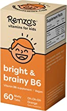 Renzo's Bright & Brainy B6, Dissolvable Vegan Vitamins for Kids, Zero Sugar, Oh-Oh-Oh Orange Flavor, 60 Melty Tabs