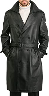 Men's Xander Classic Leather Long Trench Coat (Regular and Big & Tall and Short Sizes)