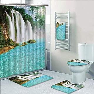 Bathroom 5 Piece Set Shower Curtain 3D Print Customized,Waterfall,Ban Gioc Detian Cascade in The Forest Tropical Waterscape Clear Pool,Turquoise Green White,Bath Mat,Bathroom Carpet Rug,Non-Slip,Bath