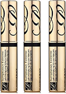 Pack of 3 Estee Lauder Sumptuous Extreme Lash Multiplying Volume Mascara #01 Extreme Black Limited Edition (Travel Size, 0.1 oz / 2.8 ml)