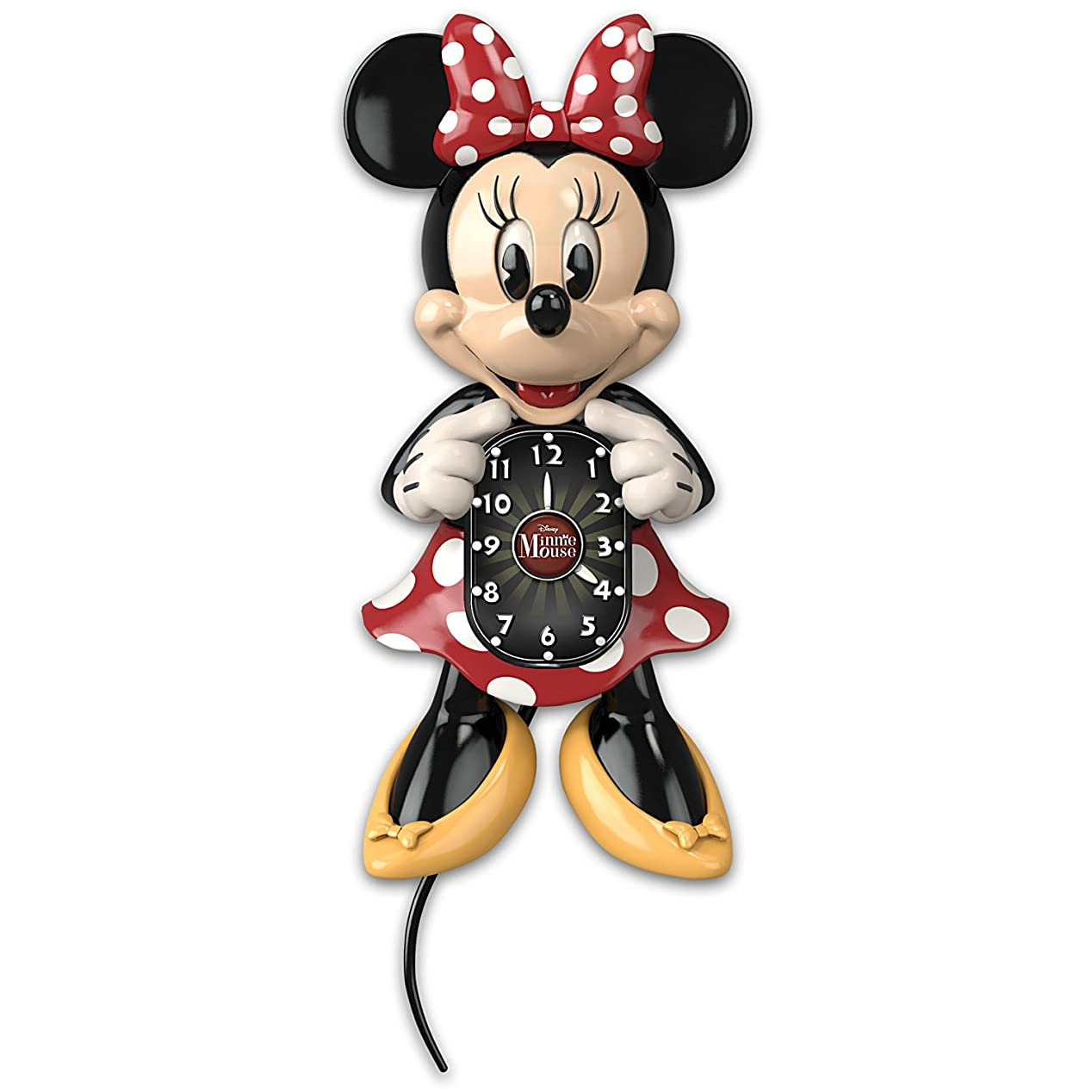 グラスおじいちゃん反動Disney Minnie Mouse壁時計with Moving Eyes and Tail by the Bradford Exchange
