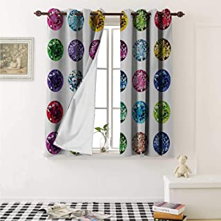 shenglv Diamond Waterproof Window Curtain Round Oval Gems Diamonds Emerald Supreme Sublime Worth World Design Girls Print Curtains Living Room W55 x L45 Inch Multicolor