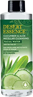 Desert Essence Facial Water - Cucumber & Aloe Micellar w/Tea Tree Oil - 8 Fl Oz - Micellar Cleansing - Calms Irritated Ski...