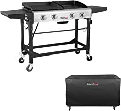 Royal Gourmet Portable Propane Gas Grill and Griddle Combo,4-Burner,Griddle Flat Top, Folding Legs,Versatile Outdoor Camping Stove with Side Table,with Cover