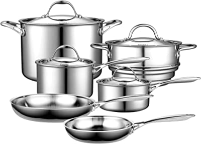 Cooks Standard 10-Piece Multi-Ply Clad Stainless Steel Cookware Set