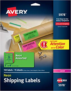 Avery High Visibility 2 x 4 Inch Labels, Assorted Fluorescent Colors 150 Pack (5978)