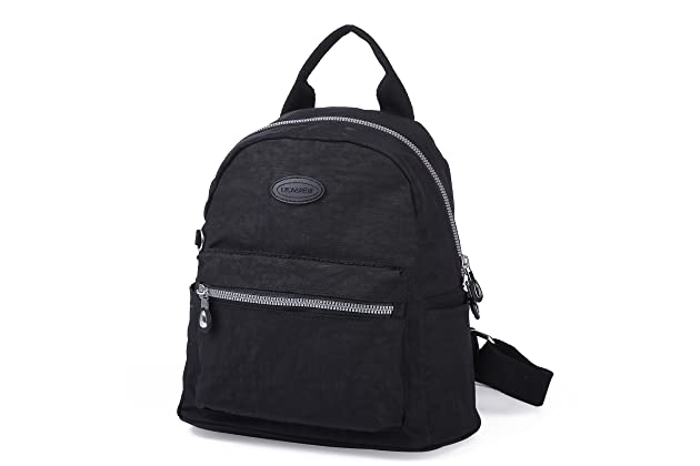 ee7e377e91bf Lily   Drew Nylon Mini Casual Travel Daypack Backpack Purse (Small Black  Metal Zippers)