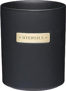 MasterClass Pot à Ustensiles en Grès avec Étiquette Couleur Laiton, 11.8 x 11.8 x 15.2 cm, Noir mat