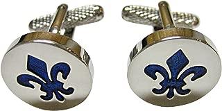 Kiola Designs Blue and Silver Toned Fleur de LYS Cufflinks