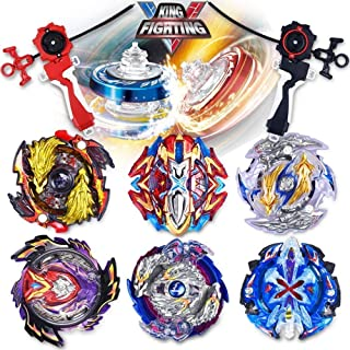 infinitoo Set of 6 Pcs Bey Battling Top Burst, 4D Fusion Model Metal Masters Acceleration Launcher, 2 Throwers Set with La...