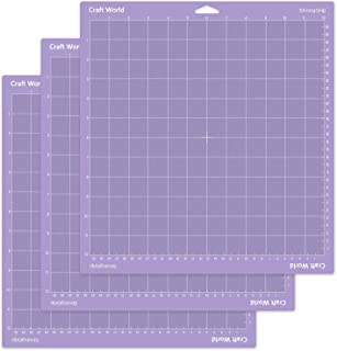 Craft World 12x12 Cutting Mat for Cricut Maker/Explore Air 2/Air/One(Stronggrip, 3 Pieces), Cricket Mat Perfect Stickiness for Thick Material