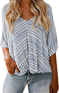 Women's Striped Print Shirt, Sharemen Half-Neck T-Shirt V-Neck Loose Casual Chiffon Top