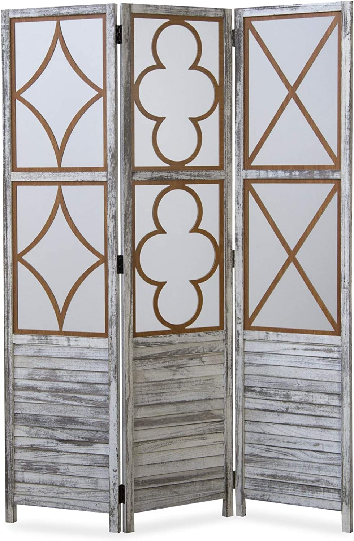 Homestyle4u 1859, Paravent Raumteiler 3 teilig, Holz Vintage Design, Wei Grau