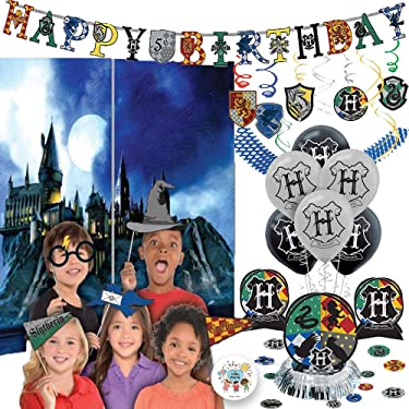 Deluxe Harry Potter Hogwarts Birthday Party Decoration Pack with Harry Potter Houses Scene Setter and Photo Props, Hanging Swirls, Add An Age Birthday Banner, Table Decoration, Blue Garland, Balloons, and Pin