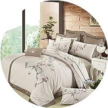Beddings Set 100% Egypt Cotton Silky Luxury Royal Bedding Set Queen/King Size Embroidery Korean Bed Set Duvet Cover Bed Linen Pillowcases,1,King 6Pcs