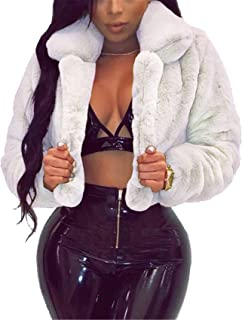 SZIVYSHI Winter Thick Warm Long Sleeve Buttonless Plush Faux Fur Loose Fit Cropped Crop Duster Duffle Coat Jacket Top