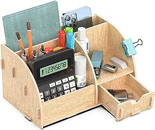 Lesfit Organisateur de Bureau bois, Multifonction Rangement Bureau Organisateur avec Pot à Crayons | Pot à Stylo