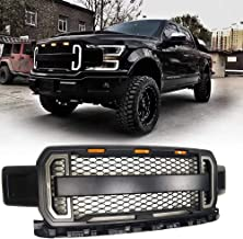 Front Bumper Grill for Ford F150 Raptor (2018-),Radiator Decorative Grille with Led Daytime Running Lights and Conversion Lights, ABS Black Matte