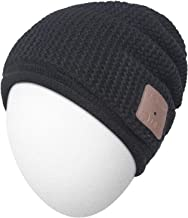 Qshell Mens Womens Outdoor Sports Music Beanie Hat with Stereo Speaker Headphones Microphone Hands Free and Rechargeable Battery for Cell Phones, iPhone, iPad, Tablets, Android Cellphones