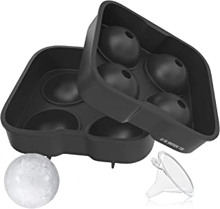 The Brothers Tod Deluxe Silicone Sphere Ice Ball Molds - Flexible Ice Tray Creates 4 1.75 inch Ice Balls - Keep Your Whisk...