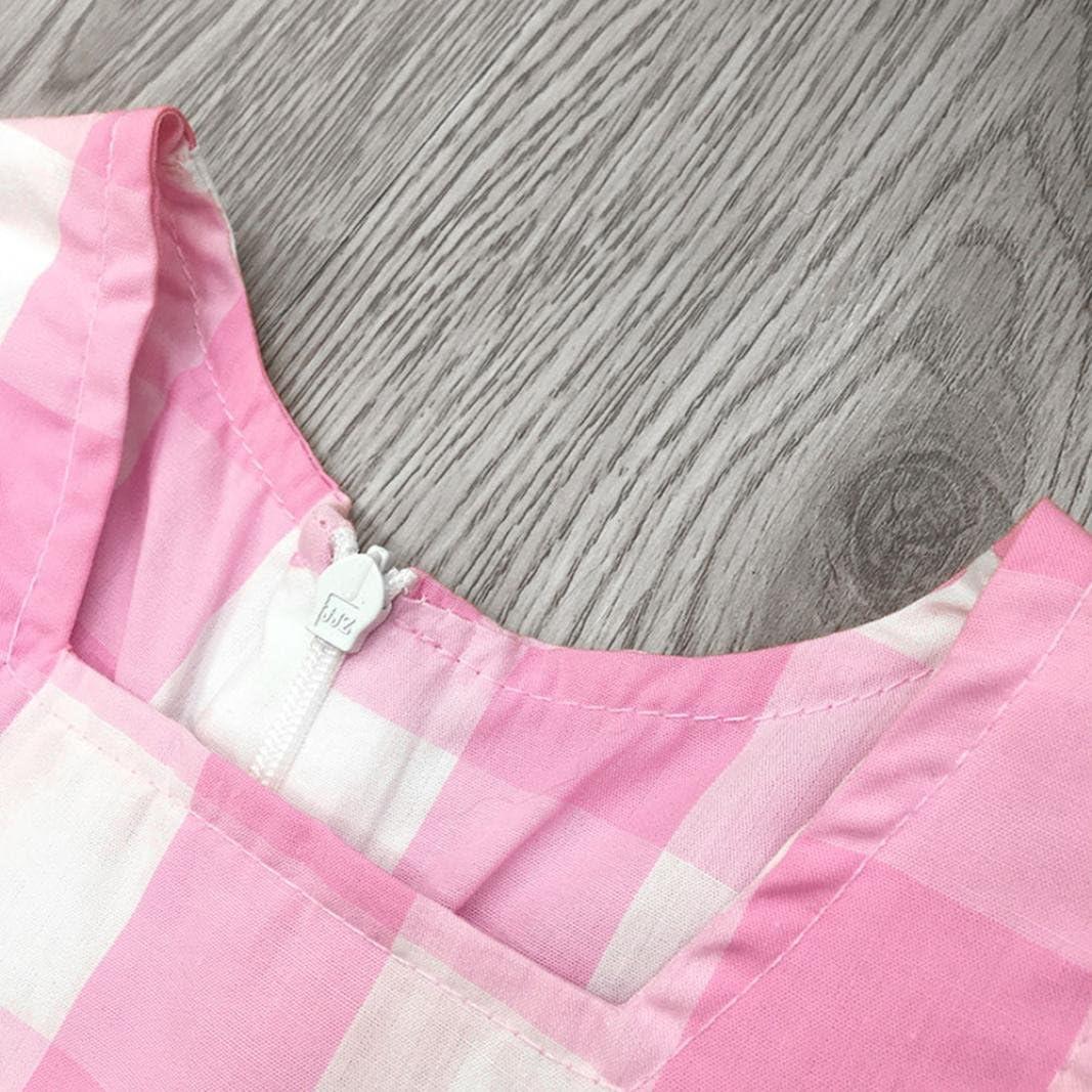 TM Summer Dresses Kid Baby Girl Newborn Lace Ruffles Sleeve Tute Plaid Skirt 0-6T Elevin