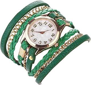 Joyfeel Buy orologio da ragazza Fashion Faux Leather strap da polso al quarzo Girl bracelet-green